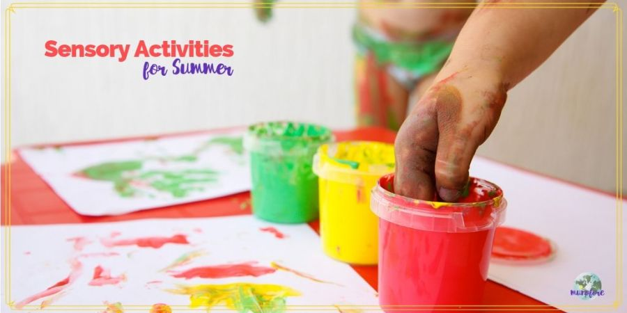 "finger painting with text overlay ""sensory activities for summer"""