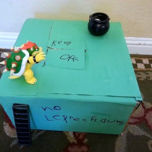 Easy Leprechaun Trap for St Patrick's Day fun. Made with a cardboard box, a pot of gold and some basic craft supplies.