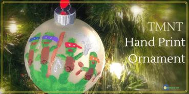 TMNT Hand print ornament on a tree