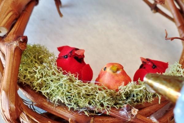Bird Family Grapevine Wreath Christmas Ornament