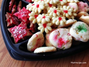 tray of Christmas cookies