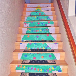 Christmas Tree Stair Raiser Decoration - decorate your stair risers for the holiday with this easy to customize idea.