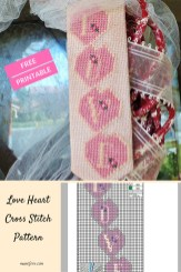 Love Heart Cross Stitch Pattern - free printable cross stitch pattern of hearts spelling the word LOVE.
