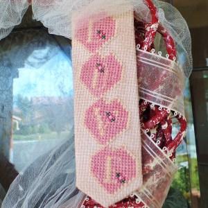 Love Heart Cross Stitch Pattern - free printable cross stitch pattern of hearts spelling the word LOVE.
