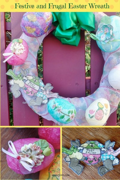 Festive and Frugal Easter Wreath pin