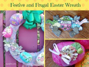 Festive and Frugal Easter wreath made with decoupaged eggs, ribbon, mesh and fabric scraps.