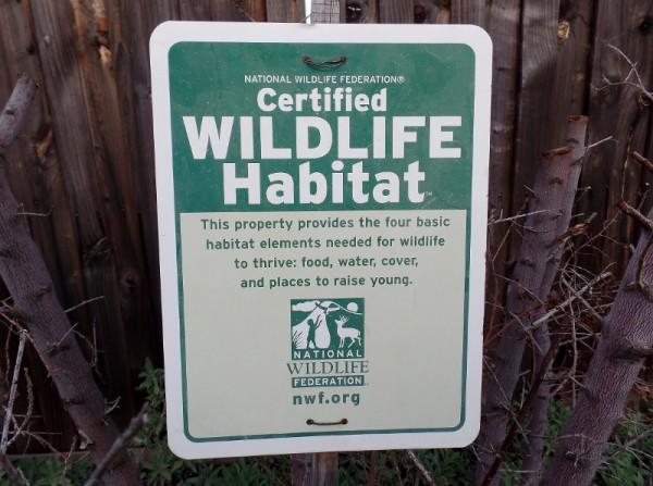 Wildlife Habitat sign