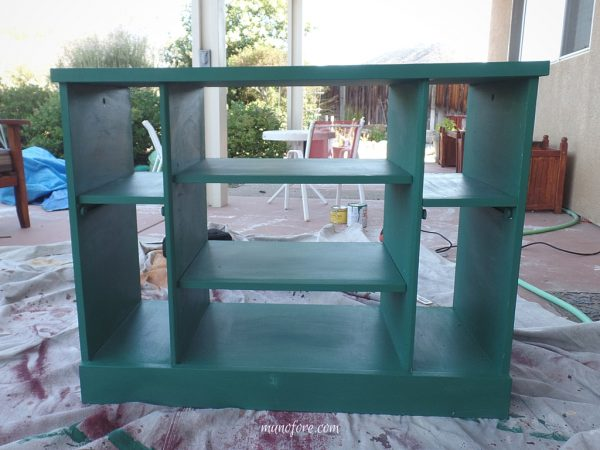 Furniture refinish - glossy black TV stand to a toy shelf.
