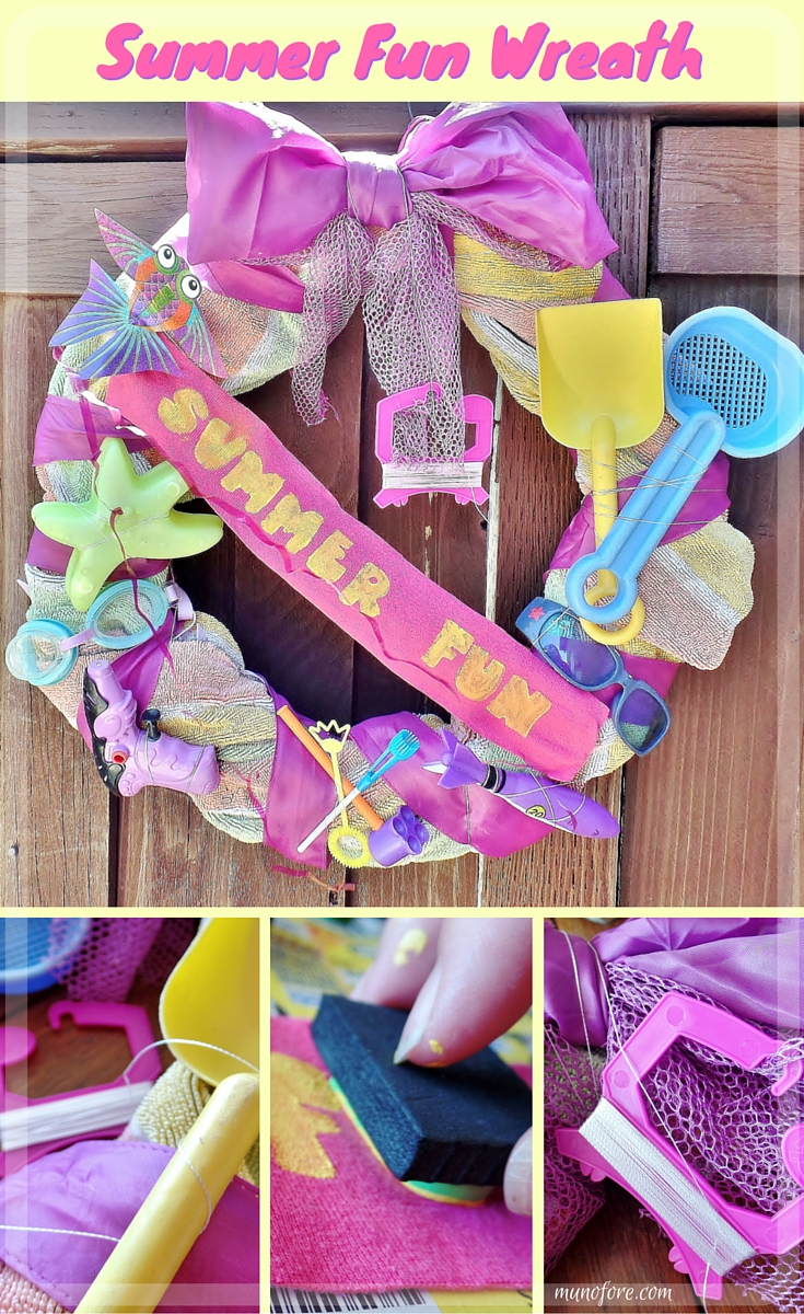 Summer Fun Beach Towel Wreath - Upcycle a beach towel and old summer toys into a fun summer themed wreath.