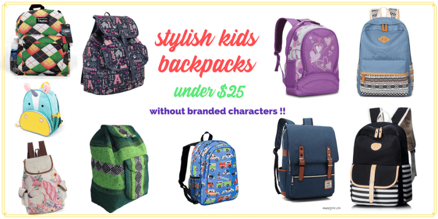 "collage of backpacks with text ""stylish kids backpacks under $25 without branded characters"""