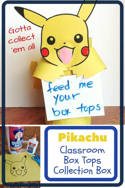 Pikachu Box Top Collection Box - This simple project turns a boring oatmeal container into a fun Pikachu ready to hold all of those box tops.