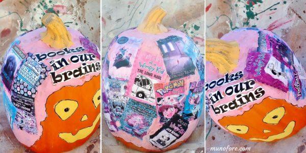 book themed decoupage pumpkin