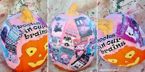 book themed decoupage pumpkin