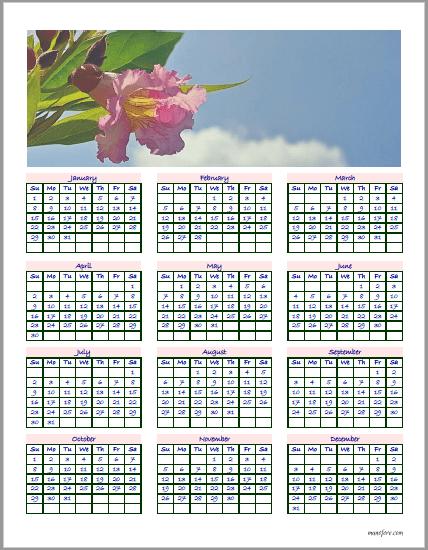 2017 Chitalpa calendar