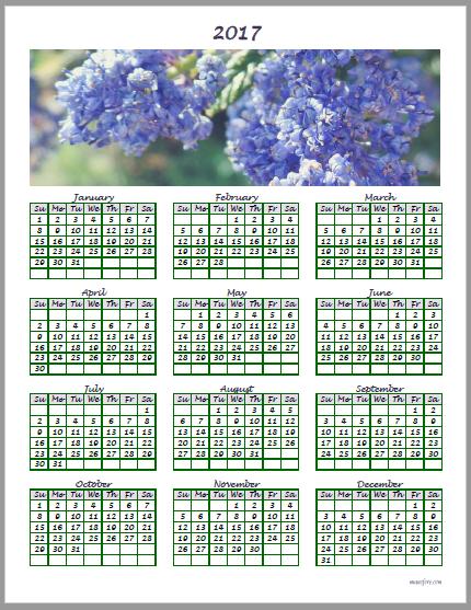 2017 lilac calendar (ceanothus, California lilac)