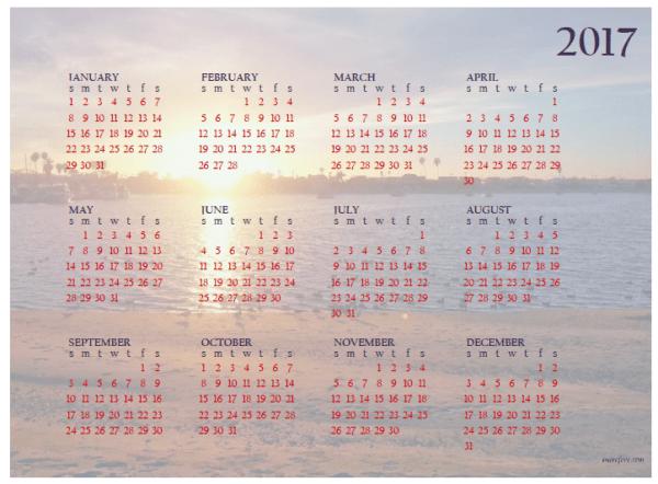 2017 sunset calendar