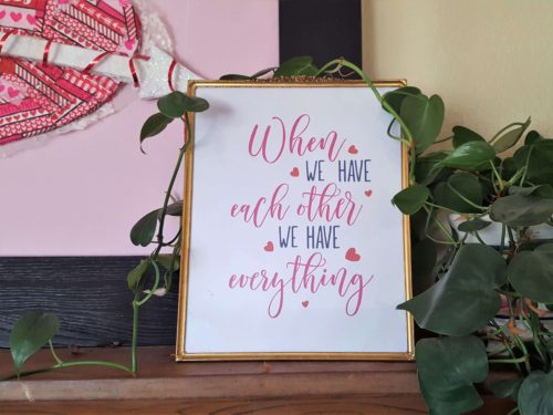valentine's day printable on mantle