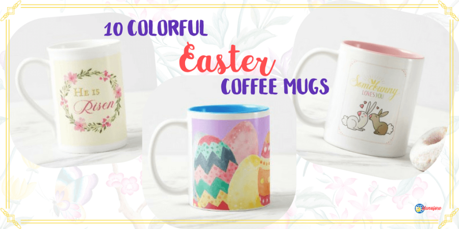 3 Easter coffee mugs with text overlay