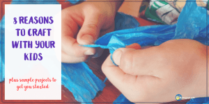 Child tearing tissue paper with text overlay