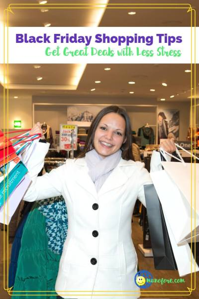 """woman with shopping bags and text overlay """"Black Friday Shopping Tips"""""""