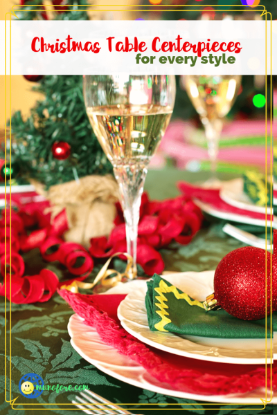 "christmas dinner table with text ""Christmas Centerpieces for every style"""