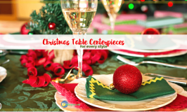 """christmas dinner table with text """"Christmas Centerpieces for every style"""""""
