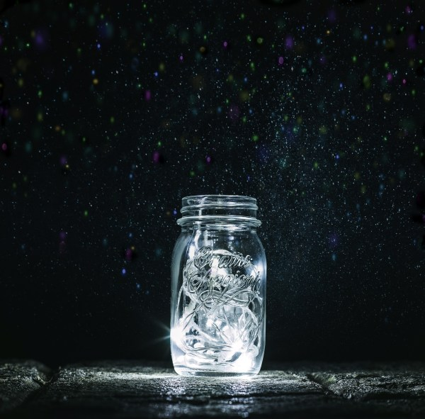mason jar with string lights