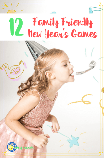 "girls in party hats with text overlay ""12 Family Friendly New Year's Eve Games"