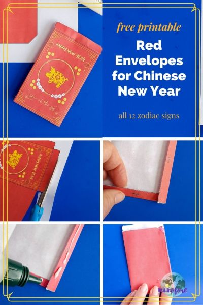 "collage of red envelope making craft with text overlay ""free printable red envelopes for Chinese New Year"""