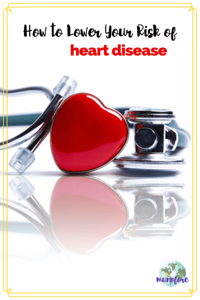 "stethoscope and red heart shape with text overlay ""How to Lower Your Risk of Heart Disease"""