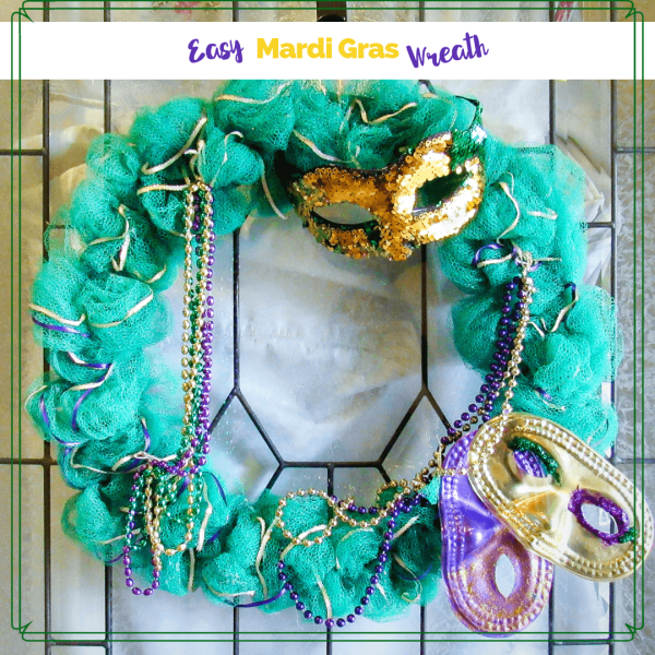 mardi gras wreath on a door