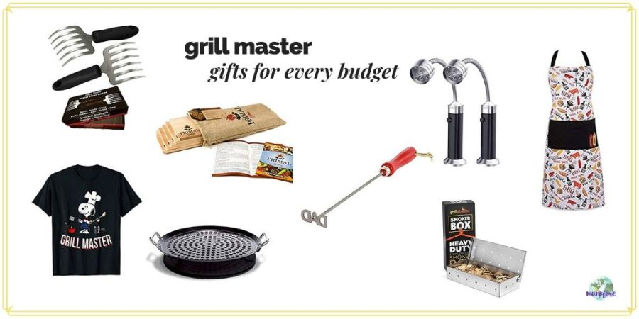 "collage of barbecue tools and accessories with text overlay ""Grill Master gifts for every budget"""