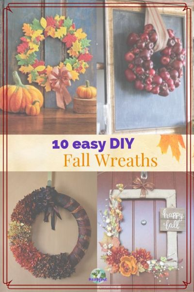 "collage of fall wreaths with text overlay ""10 easy DIY Fall Wreaths"""