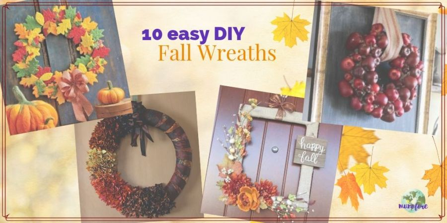 collage of fall wreaths