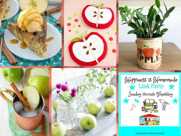 collage of apple recipes and crafts