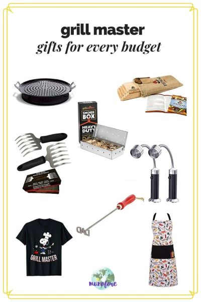 collage of gifts for barbecue lover with text overlay