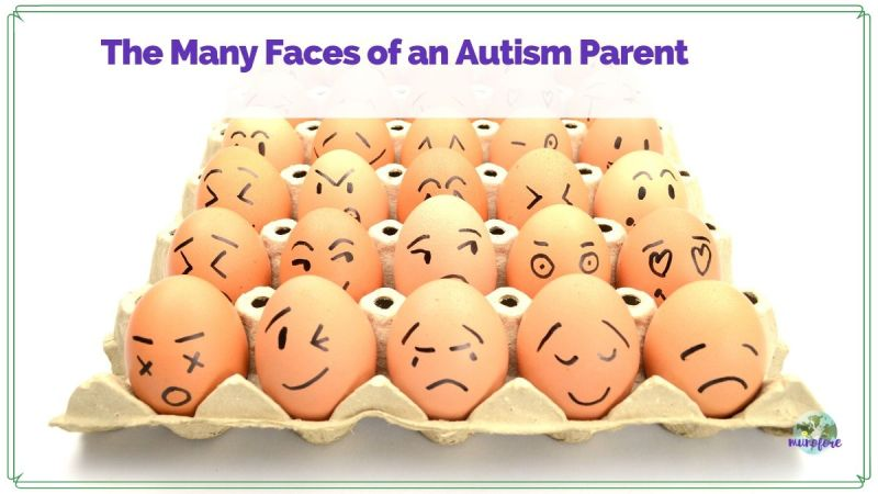 "eggs in a carton with faces drawn on them and text overlay ""The Many Faces of an Autism Parent"""