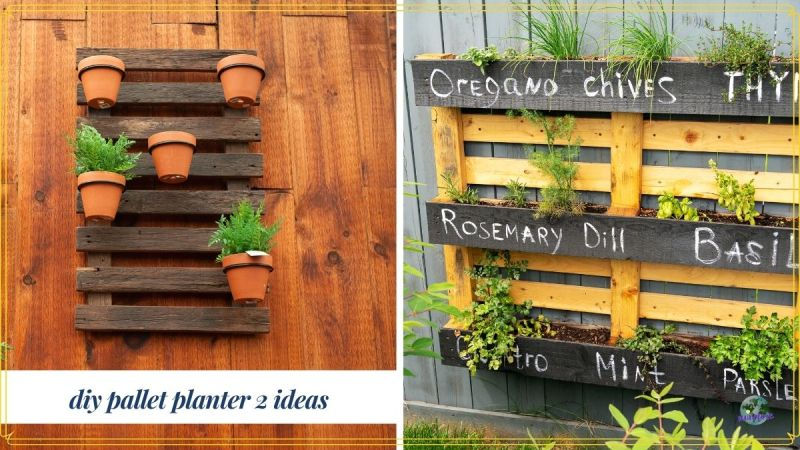 "collage of pallet planters with text ""DIY pallet planters: 2 ideas"""