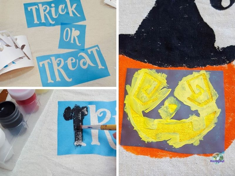 collage of Halloween painting stencils