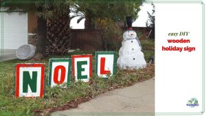 """wooden Christmas yard decoration with text overlay """"easy DIY wooden holiday sign"""""""