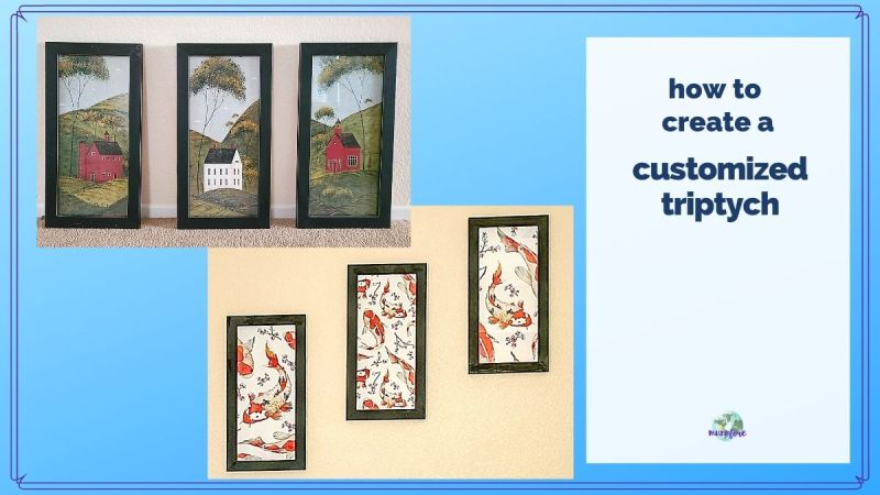 "two images of wall art collages with text overlay ""how to create a customized triptych"""