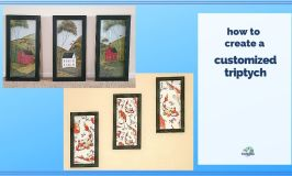 """two images of wall art collages with text overlay """"how to create a customized triptych"""""""