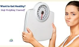 """woman scowling at scale with text overlay """" Want to Get Healthy, Stop Weighing Yourself"""""""