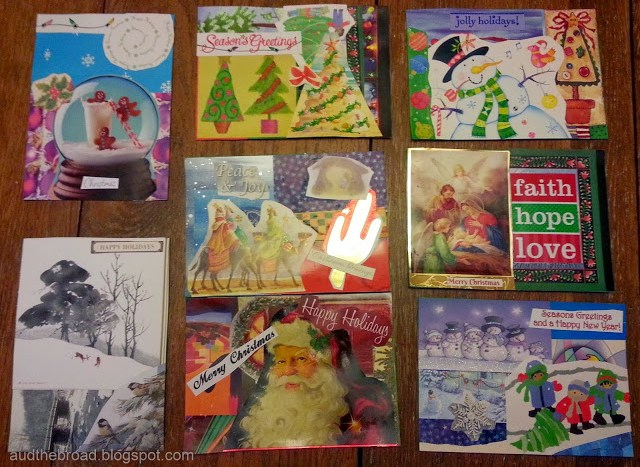 Use old Christmas cards to make new Christmas cards.