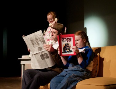 "Heather Awbrey Glosier, Dan Warnecke and Naomi Warnecke in ""Bye Bye Birdie."""