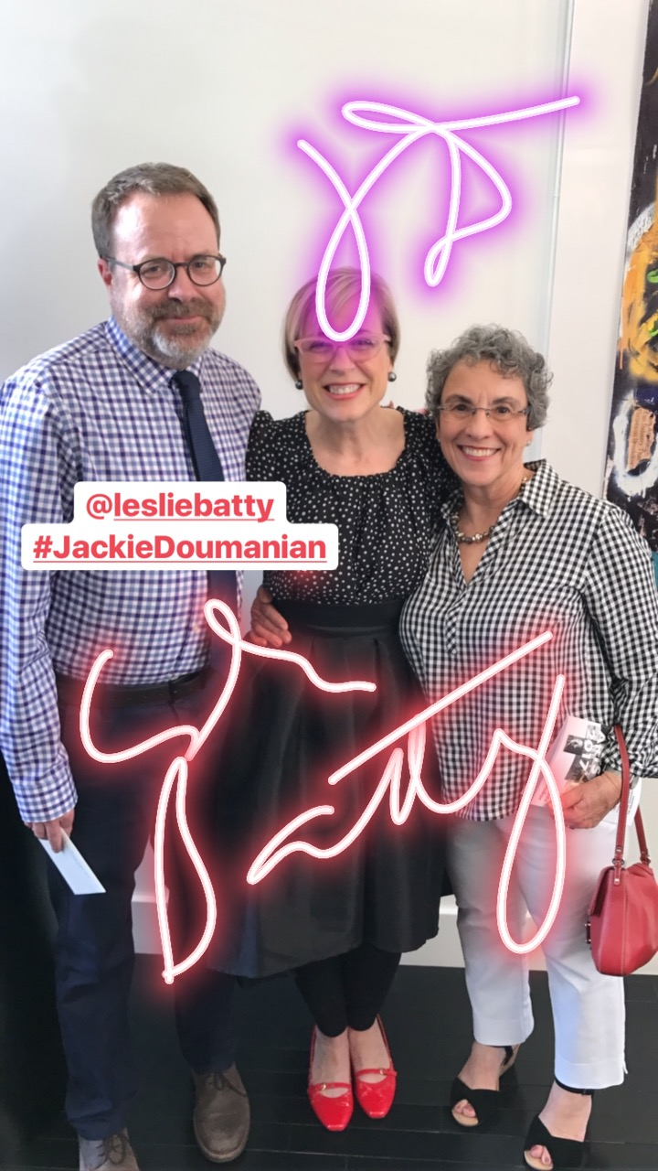 Summer Arts kickoff party: Leslie Batty and Jackie Doumanian.