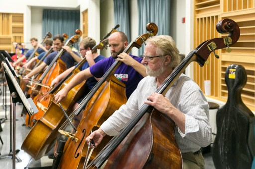 Rehearsal at Fresno State: the double bass section. Photo / Todd Sharp, CSU Summer Arts