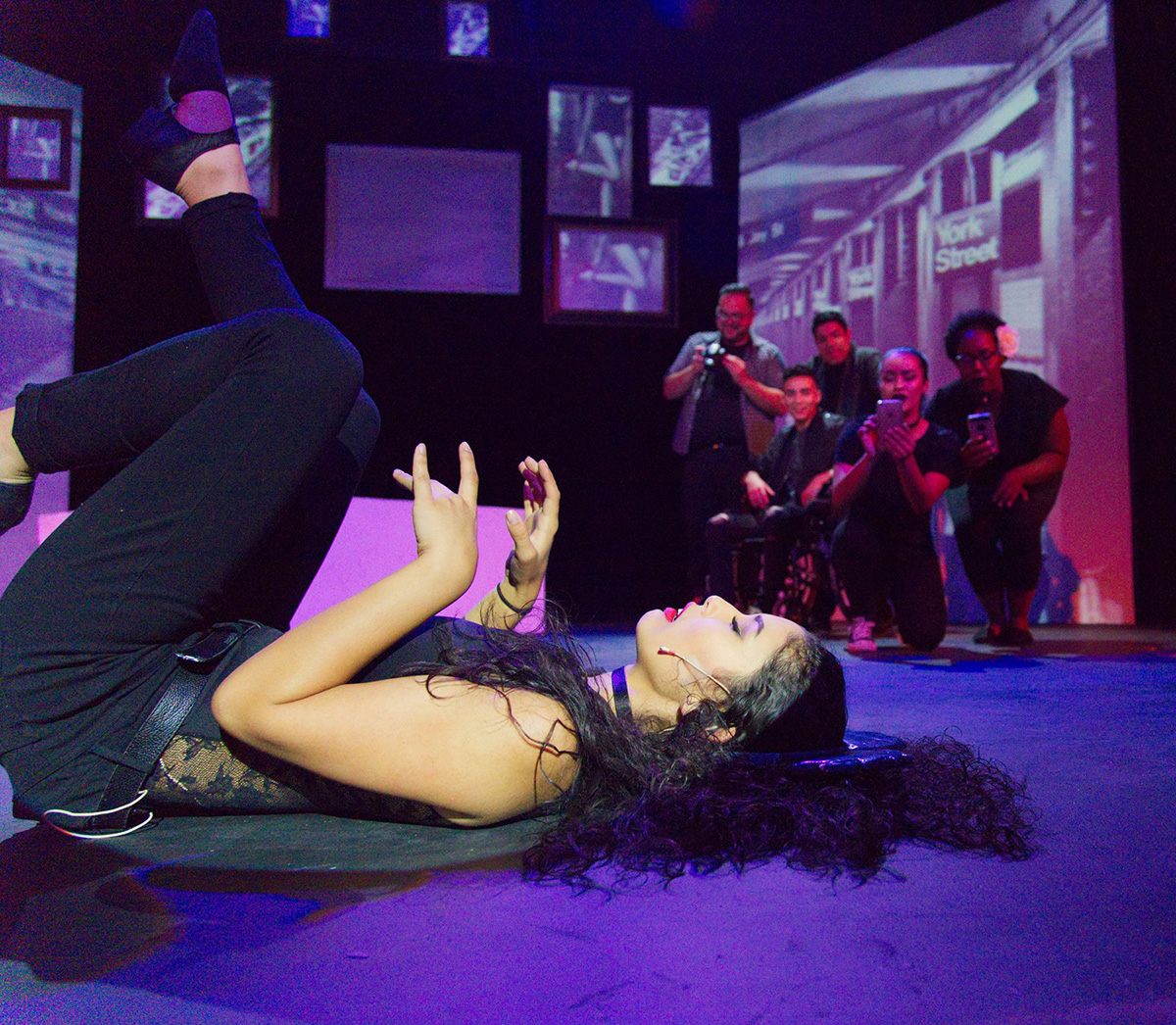 Floor show: Sabrina Lopez and cast in 'Immaculate Deception.'