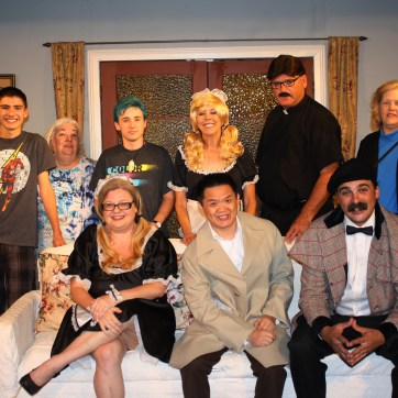 Whodunit: The cast and crew of the Kings Players production of 'Murder Me, Murder Me Not.'