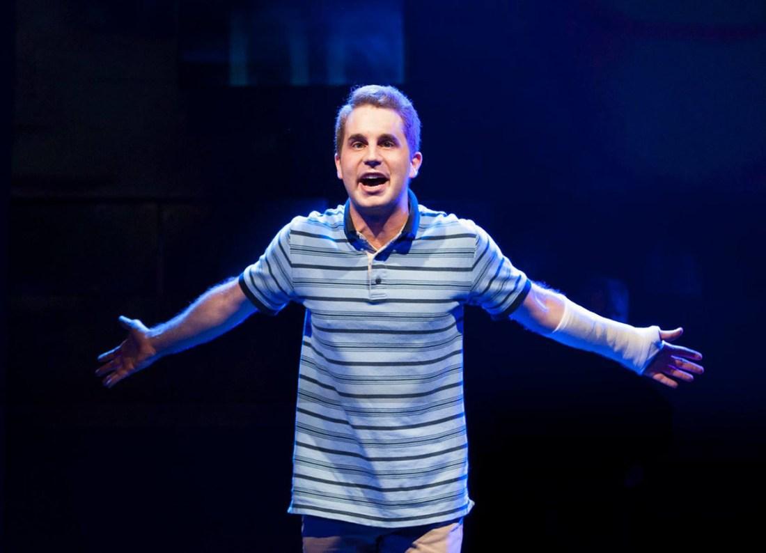 Photograph of Ben Platt onstage in Dear Evan Hansen